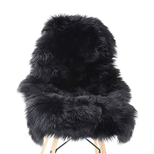 YJ.GWL Soft Black Fluffy Faux Fur Sheepskin Area Rug for Bedroom Sofa Cover Seat Living Room Shaggy Bedside Rugs 2' x 3'