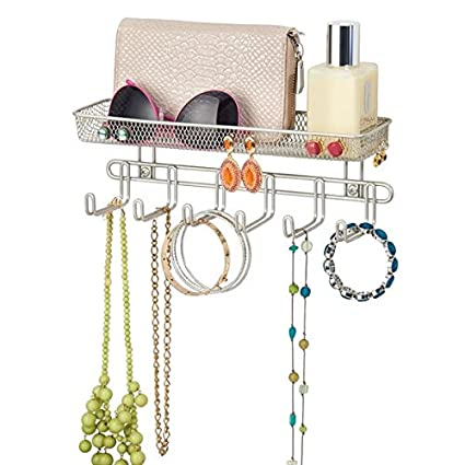Jewellery Organiser with 6 Hooks and 2 Compartments Jewellery Storage for Rings Earrings mDesign Jewellery Box Necklaces and More Bronze Jewellery Holder for Hanging