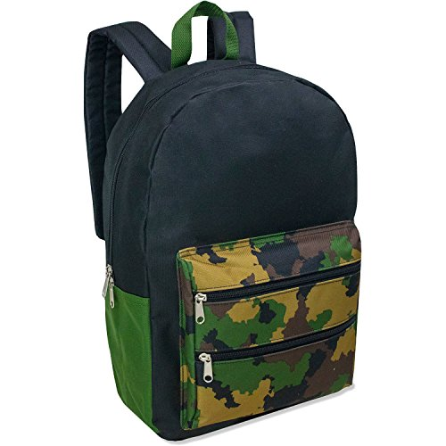 Full Size Dome Backpack With Double Zippered Pocket 17 Inch (Camo) -