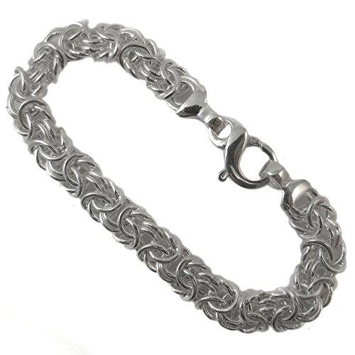 Byzantine Italian Bracelet 14.5mm Thick Flat Oval .925 Sterling Silver. 7, 7.5, 8 Inches (7 Inches) Byzantine Italian