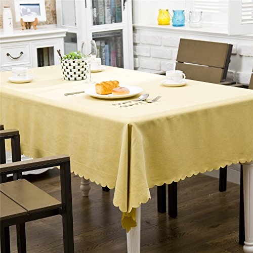 OstepDecor Rectangular Waterproof Tablecloth Velvet Decorative Table Top Cover Kitchen Dining Room End Table Protection – Yellow, 52″ x 70″