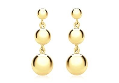 Genuine 9ct Yellow Gold Triple Graduated Ball Drop Earrings eQHlGiT