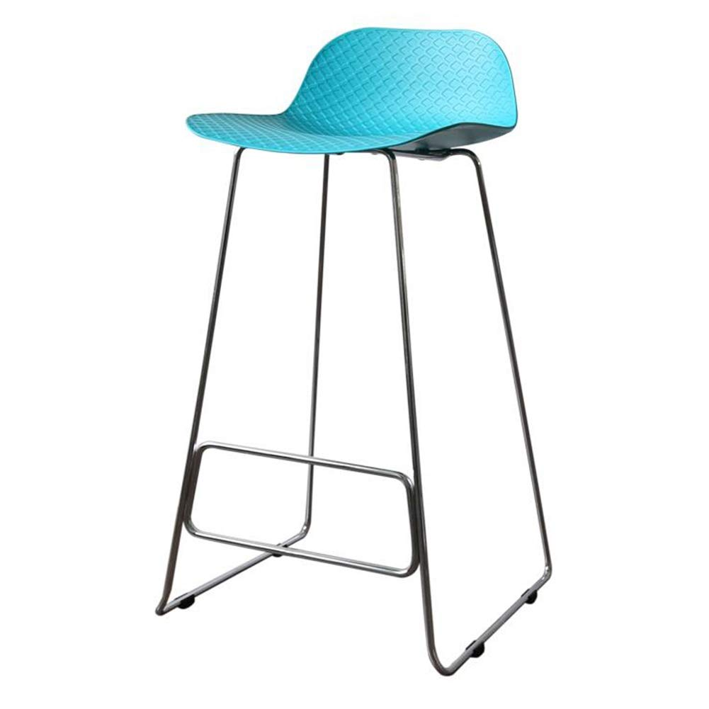bluee panel+plating foot H 75CM XUERUI Barstools Bar Chair, Bar Stools, High Stool, Bar Chair, Metal Simple Modern Anti-slip Home Kitchen Bar Cafe - 504983.5cm Strong Stability ( color   Green panel+plating foot , Size   H 75CM )
