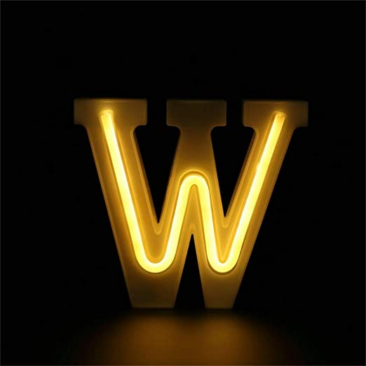 Warm White LED Letters Neon Light Sign, Light Up Marquee Letters Lights Battery Powered (W)