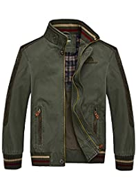 Oncefirst Men's Stand Collar Front Zip Cotton Lightweight Jacket