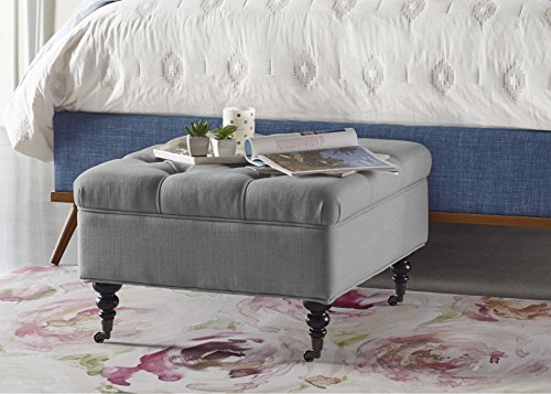 Serta Abbot Square Tufted Ottoman with Storage and Casters, Gray