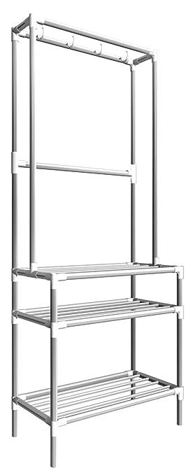 Eyepower Perchero de Burro 66x33x172cm con Zapatero 3 estantes de Metal Plata