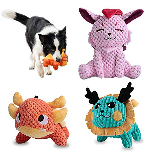 UNIWILAND Latest Squeaky Plush Dog Toys Pack for Puppy, 3 Pack Durable Stuffed Animal Plush Chew Toys with Squeakers, Cute Soft Pet Toys for Teeth Cleaning, for Small Medium Large Dogs