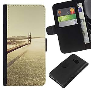 KLONGSHOP // Tirón de la caja Cartera de cuero con ranuras para tarjetas - SF Bay Bridge - HTC One M7 //