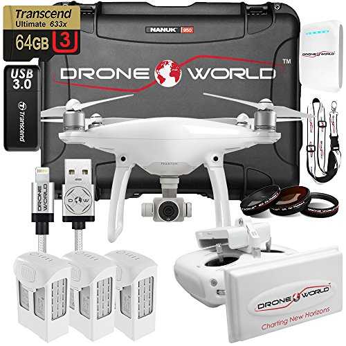 DJI Phantom 4 Executive Kit w/ Long Range Extender System, Nanuk 950 Wheeled Case, 3 Batteries, Lens Filters, 64GB U3 Card/Reader & More
