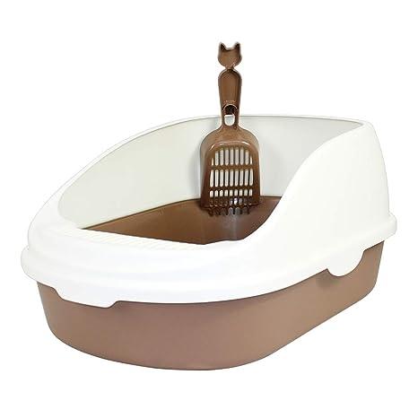 DZL Gatos Aseo Arenero Abierto para Mascotas Gatos 50 * 35 * 22cm Bandeja Sanitaria Plástica con Pala Bandeja Arena para Gatos Aseo Mascotas Color ...
