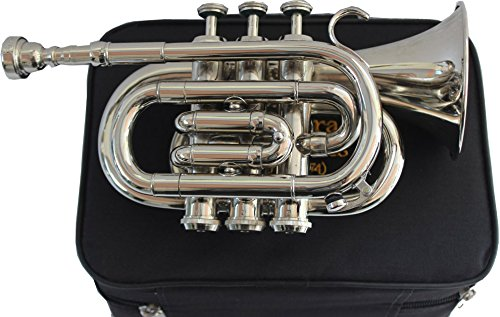 TRUMPET POCKET Bb NICKEL PLATED WITH BAG 7C MOUTH PIECE by Chopra