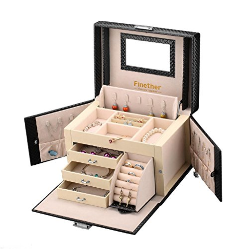 New Large Leather Jewelry Box Case Storage Organizer Makeup Locked (American Cherry Stained Finish)