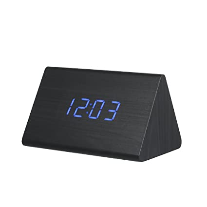 Shuangklei Reloj Despertador Digital Led Reloj Mesa Sonidos Termómetro Digital De Sobremesa Pantalla Led De Control