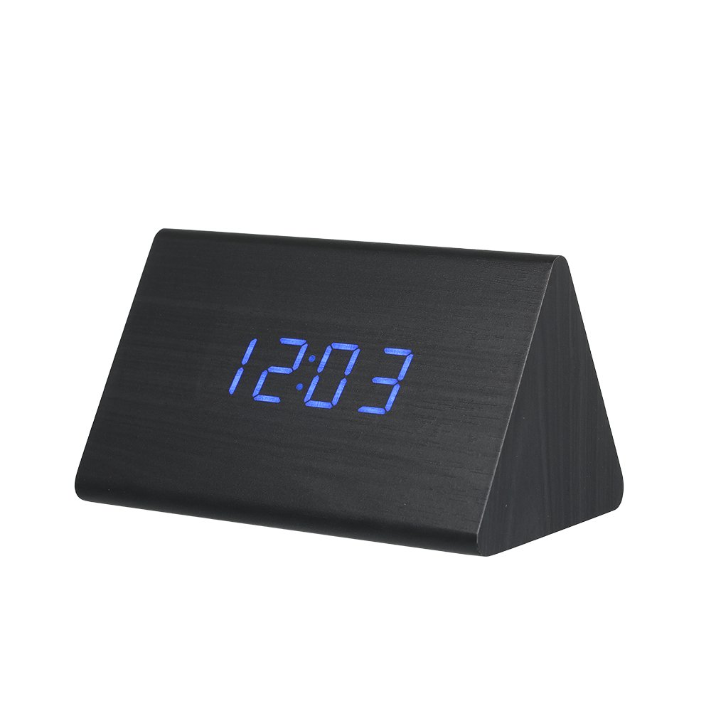 Walmeck Wooden Triangle Electronic Clock Digital Alarm Time LED Display Sounds Control Temperature Blue