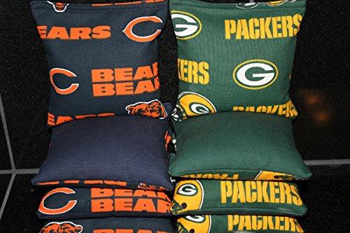 CHICAGO BEARS GREEN BAY PACKERS CORNHOLE BEAN BAGS Set of 8 ()