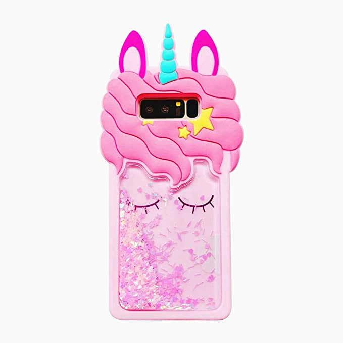 size 40 a3251 1e4ae Cute 3D Unicorn Galaxy Note 8 Case,Cartoon Character Kawaii Rainbow Horse  Unique Animal Fashion Cool Design Phone Bag Shell Soft Rubber Cover  Silicone ...