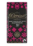 Divine Chocolate Bar, 70% Dark Chocolate with Raspberries, 3.5 Ounce (Pack of 10)