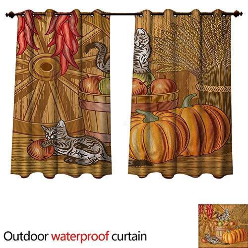 - WilliamsDecor Harvest Outdoor Ultraviolet Protective Curtains Retro Barn with Two Kittens Pumpkins Dried Peppers Apples in Basket Wheat W55 x L72(140cm x 183cm)