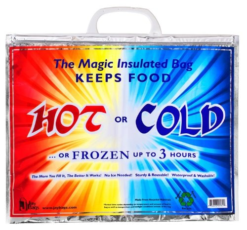 Large Insulated Bag, Keeps Food Hot or Cold up to ''3 Hours'' with Handle *Great Quality* by Jay Bags