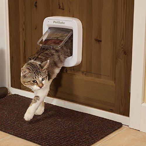 PaylesswithSS Mikrochip 4-Fach Katzenklappe mit Anhänger batteriebetrieben