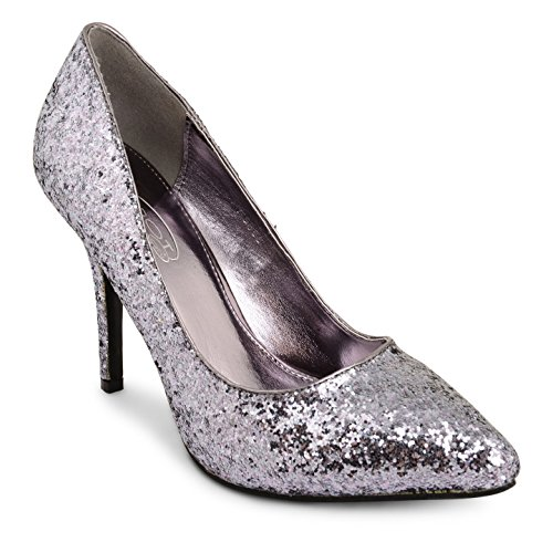 Tilly Shoes punta tacón BODA novia Prom Smart trabajo fiesta noche Oficina de Trabajo Zapatos Bombas Tamaño - plateado (Pewter Glitter)