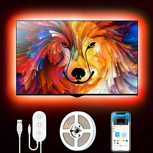 Govee Tira LED TV 2m, Luces LED RGB USB Retroiluminación Bluetooth Control de App y Caja de Control, 16 Millones de…