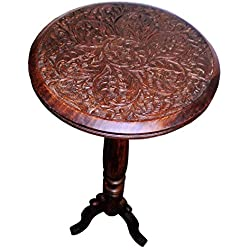Cotton Craft Mango Wood Hand Carved Accent Pedestal Table - Antique Brown - Handcrafted Carved Wood Accent Table - 18 Round Top x 18 High - Intricate detail with hand carving