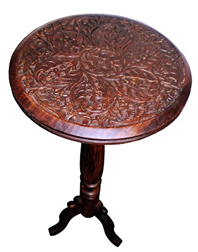 - Cotton Craft Mango Wood Hand Carved Accent Pedestal Table - Antique Brown - Handcrafted Carved Wood Accent Table - 18 Round Top x 18 High - Intricate detail with hand carving