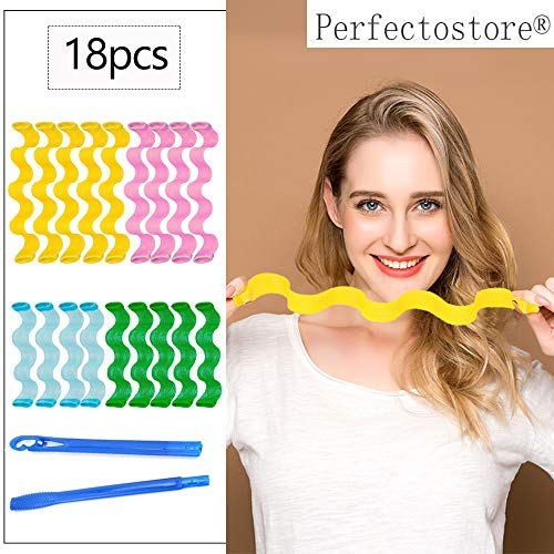 Hair Rollers,18pcs Hot New DIY Curl Formers Water Ripple Hair Divider Magic Hair Curlers Curl Formers Spiral Ringlets Leverage Rollers