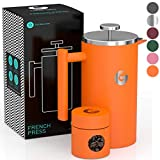 Coffee Gator French Press Coffee Maker - Less Sediment, Hotter-for-Longer Thermal Brewer - Plus Travel Jar - Large Capacity, Double-Wall Insulated Stainless Steel - 34 Ounce - Orange