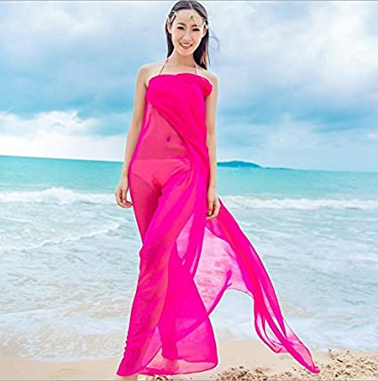 5bf9d55843 Image Unavailable. Image not available for. Color: Topseller Womens Chiffon  Bikini Summer Beach Swimwear Sarong Wrap Cover Dress Scarf Pareo ...