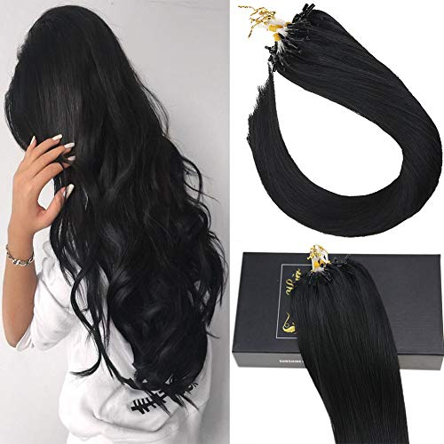Sunny Micro Ring Human Hair Extensions,14inch Micro Loop Hair Extensions Human Hair Black(#1 Jet Black) 1g/strand 40g+10g for Free,50g in Total