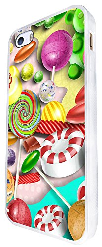 1544 - Cool Fun Trendy Cute Stickerbomb Sweets Candy Cartoon Kawaii Collage Design iphone SE - 2016 Coque Fashion Trend Case Coque Protection Cover plastique et métal - Blanc