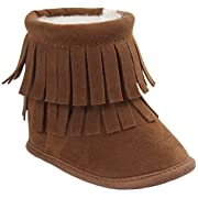 Vanbuy Baby Double Fringe Leather Boots Infant Toddler Snow Boots Moccasin Boots WB35-Dark Brown-S