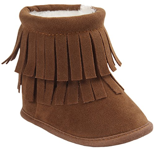 Vanbuy Baby Double Fringe Leather Boots Infant Toddler Snow Boots Moccasin Boots WB35-Dark Brown-S ()