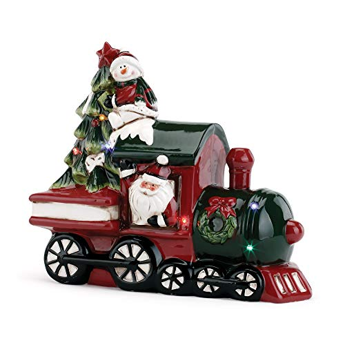 Napco Imports Santa Snowman Train 11 x 9 Inch Ceramic LED Light Up Musical Christmas Figurine