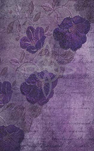Grimoire Wicca Book of Shadows Journal - Castings and Rituals: Aged Purple Cover with a Witches Knot, Lace Patterned Flowers, Leaves and Ephemera. Back has an Aberration of a Fairy and Crescent Moon. -