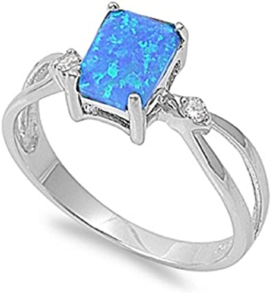 CloseoutWarehouse Rectangular Simulated Sapphire Center Cubic Zirconia Ring Sterling Silver 925