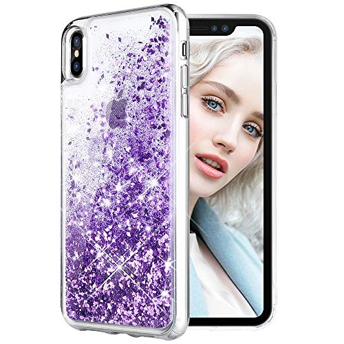 Maxdara Case for iPhone X/iPhone Xs Glitter Case Liquid Flowing Luxury Bling Sparkle Glitter Shockproof Girls Women Case X/XS 5.8 inches (Purple)