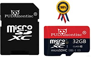 2-Pack 32GB Micro SDHC SD TF Memory Card Plus SD Adapter (32GB 100MB/S V30 A1 U3 Class 10 UHS-1 Extreme Speed Pro TF Flash Memory Storage