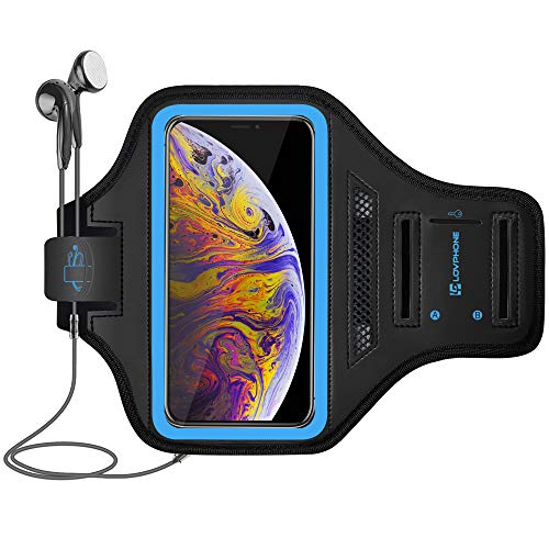 LOVPHONE Armband for iPhone Xs Max, Waterproof Sport Outdoor Gym Running Key Holder Card Slot Phone Case Bag Armband (Blue)