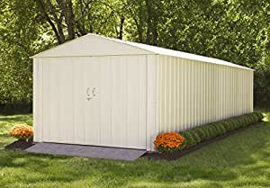 Steel Storage Shed 10 x 25 Ft. High Gable Galvanized, Eggshell