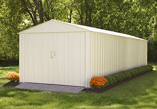 Steel Storage Shed 10 x 25 Ft. High Gable Galvanized, Eggshell (Shed Steel Galvanized)