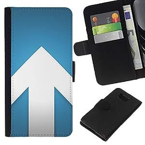 KLONGSHOP // Tirón de la caja Cartera de cuero con ranuras para tarjetas - Flecha Azul Blanco Minimalista Diseño - Samsung ALPHA G850 //