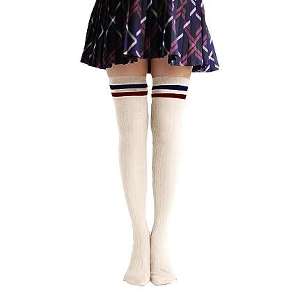 Las mujeres invierno calentador Classic rayas muslo alta calcetines por encima de la rodilla calcetines Blanco