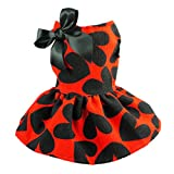 Fitwarm Adorable Sweat Heart Ribbon Pet Dog Dress Clothes Shirts, Red, Large