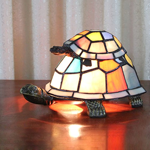 Royal-Tiffany Style European creative Colorful Mother & Child Turtle Tortoise Cuckold Table Lamp Children's Lamp Night Light (Stained Lamp Glass Turtle)