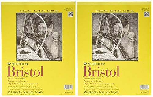 2-Pack - Strathmore 300 Series Bristol Vellum Pad, 11''x14'' Tape Bound, 20 Sheets per Pack by Strathmore