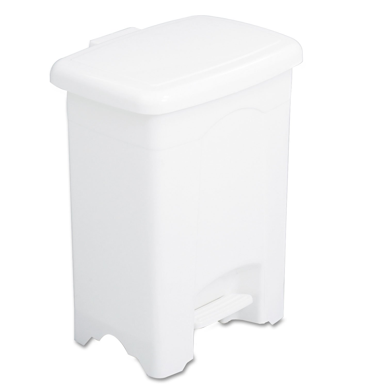 Safco 9710WH Step-On Receptacle Rectangular Plastic 4gal White